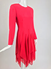 Bill Blass Red Silk Crepe with Chiffon Scarves Applique Dress