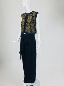 Diane Fres Gold Beaded Silk Vest and Full Silk Trouser 1970s