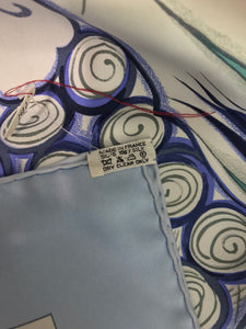SOLD Hermes Ceramique Ottomane Laurence Bourthoumieux Blue Silk Scarf 35 x 35