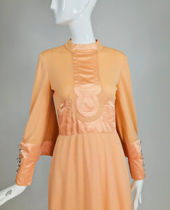 Vintage Ronald Amey Peach Knit and Satin Mod Maxi Dress 1960s