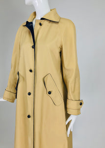 Courreges Couture Future Tan Storm Coat with Navy Corduroy Lining 1970s