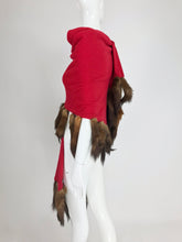 Adrienne Landau Red Wool Knit shawl with mink tail trim 1980s