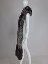 Silver Fox wide fur stole with double tails at each end 1980s