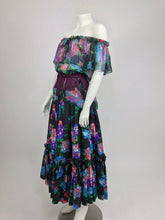 Vintage Yves Saint Laurent Russian collection silk floral top and skirt belt 1974