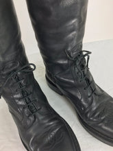 SOLD Chanel Over the knee black leather riding boots Claudia Schiffer worn 1990s