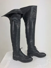 Chanel Over the knee black leather riding boots Claudia Schiffer worn 1990s
