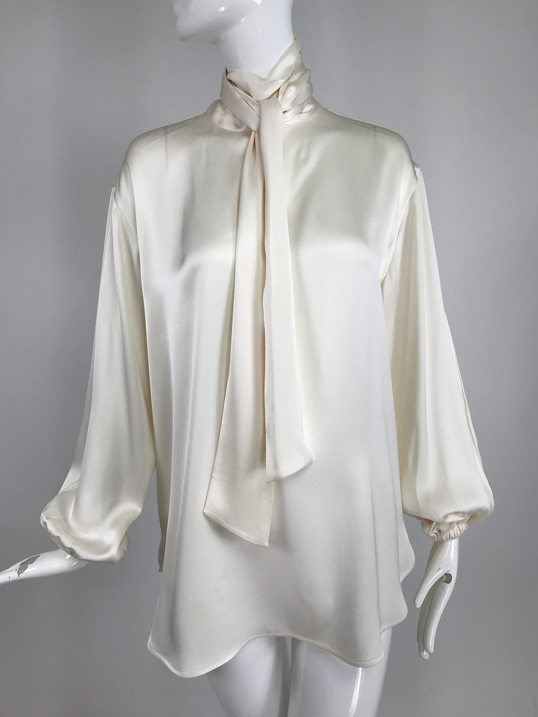Celine Candle light Silk Satin Oversize Tunic Top Full Sleeves Neck Ties