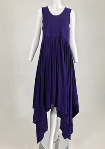 Romeo Gigli Aubergine Cotton Knit Asymmetrical Hem Dress