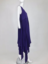 SOLD Romeo Gigli Aubergine Cotton Knit Asymmetrical Hem Dress
