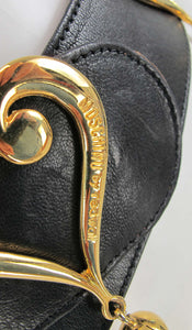 Moschino Redwall leather hearts belt 1980s