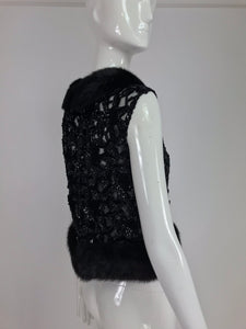 SOLD Black Mink trimmed peek a boo sequin evening top 1950s