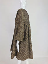 1960s Trapeze Evening Coat of Textured Metallic Copper Bronze