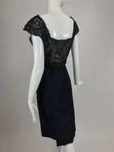 Black Silk and Guipure Lace Cocktail Dress 1950s