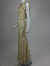 Gold Metallic Thread and Cream Lace 1930s Evening Dress