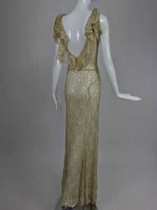 1930s Gold Metallic Thread and Cream Lace Evening Dress Vintage