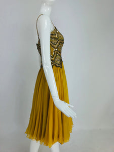 Mignon beaded Bodice Full Skirt Chiffon cocktail dress 1960s