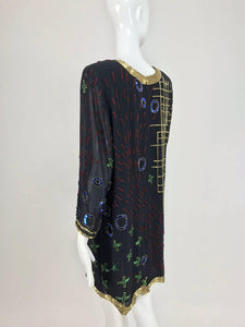 Fabrice abstract beaded silk chiffon cocktail dress 1980s
