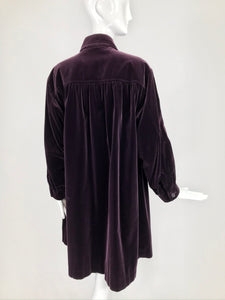 SOLD Yves Saint Laurent Aubergine Velvet Smock Coat 1970s