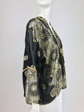 SOLD  Black Chiffon Silver and Gold Metallic Kimono Jacket 1970s