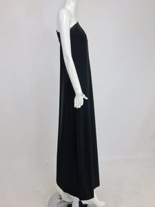 Adele Simpson Black Jersey One Shoulder Gown with Jewel Clasp 1970s