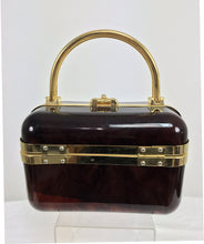 Baulotto Italy Faux Tortoise Shell Lucite Hand Bag Gold Hardware 1970s