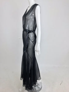 1930s Black Silk Chiffon Bias Cut Evening Dress