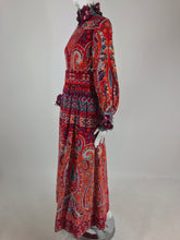 Ronald Amey Velvet print floral trim maxi dress 1970s