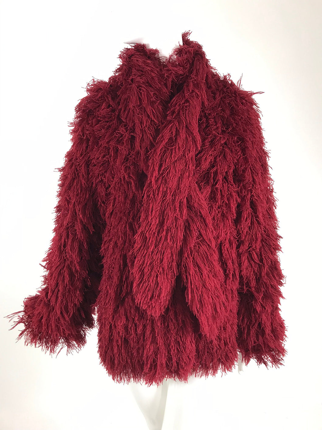 Vintage Arissa France Burgundy Faux Fur Jacket and Scarf 1980s