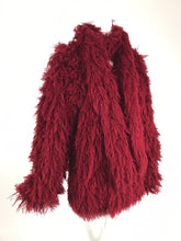 Arissa France Burgundy Faux Fur Jacket and Scarf 1980s