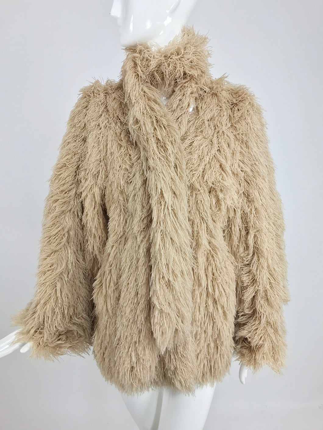 Vintage Arissa France Bone Faux Fur Jacket and Scarf 1980s