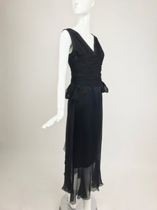 Chanel Black Silk Satin and Chiffon Evening Gown 2006A