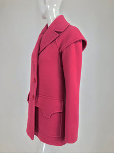 Pucci Coral Pink Wool Jacket Unusual Sleeves NWT