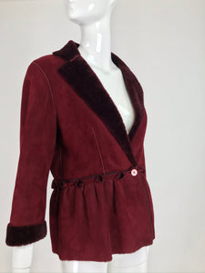 SOLD Fendi Burgundy Shearling button Front Jacket