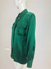 SOLD Yves Saint Laurent Emerald Green silk satin blouse 1970s
