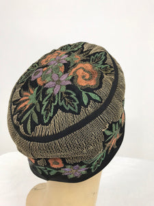 1920s Flapper Cloche Hat with Colorful Embroidery