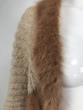 1950s Hand Knit Shrug of Gold Metallic Cream Mohair and Brown Angora Vintage