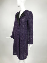 AKRIS Purple Embroidered Black Tulle Coat with Black Silk Collar