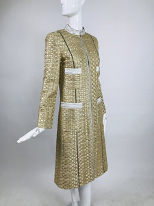 Marc Jacobs Gold and Silver Metallic 4 Pocket Coat