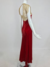 1930s Tape Lace and Red Velvet Bias Cut Evening Dress