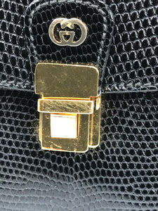 Vintage Gucci Black Lizard Evening Bag Gold Hardware 1970s