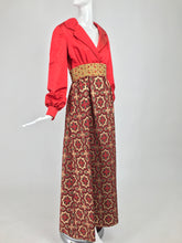 Vintage Ceil Chapman Red Satin and Metallic Brocade Maxi Dress 1960s