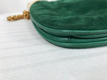 Vintage Gucci Forest Green Suede with Gold Chain and Gold Hardware 1980s