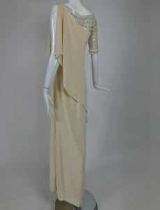 Valentino Beaded Chiffon Gown Worn By Marie-Chantal Miller at Valentino's 45th