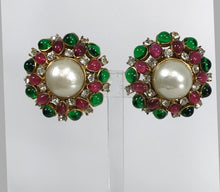 Chanel Gripoix Pearl & Rhinestone Pink & Green Earrings 1980s
