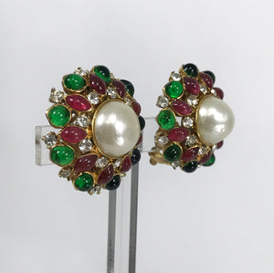 SOLD Chanel Gripoix Pearl & Rhinestone Pink & Green Earrings 1980s