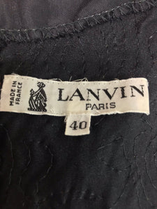 Lanvin ruched velvet fitted top 1980s