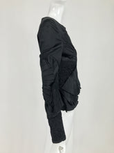 Gucci Tom Ford Black Raw Edge Polished Cotton Fan Pleated Jacket