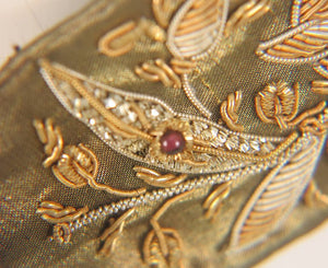 India gold metallic embroidered 1960s belt with semi precious stones