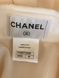 Chanel 2020 Off White Silk Pleated Long Sleeve Blouse