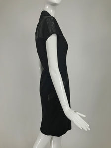 Gianni Versace Couture Black stretch and Vinyl Zipper Dress 1980s